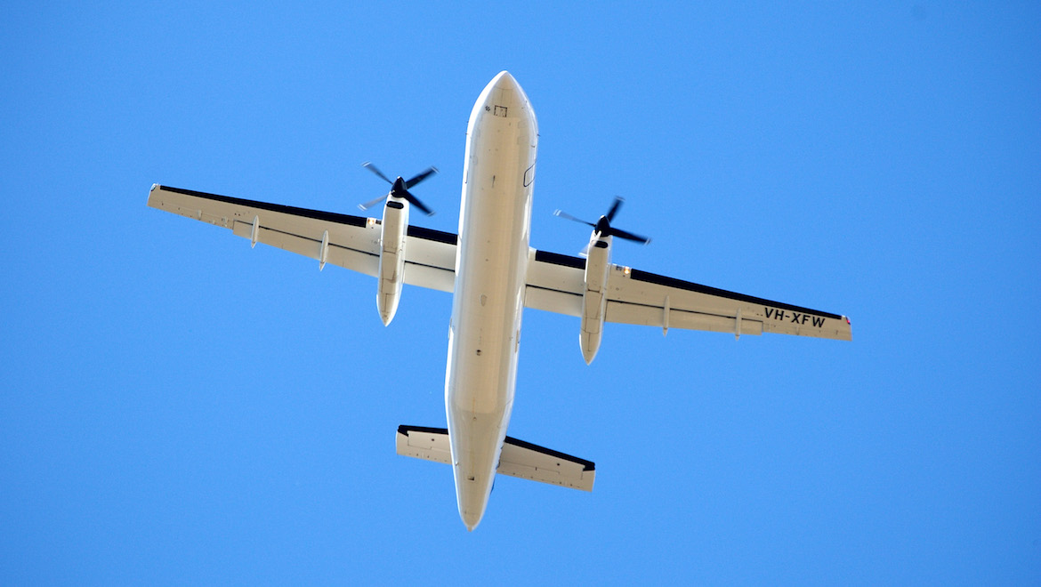 The underside of a Skippers Dash 8-300. (Les Bushell)